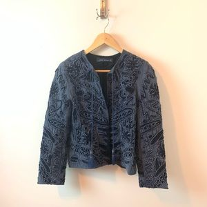 Zara Embroidered Open Collarless Jacket